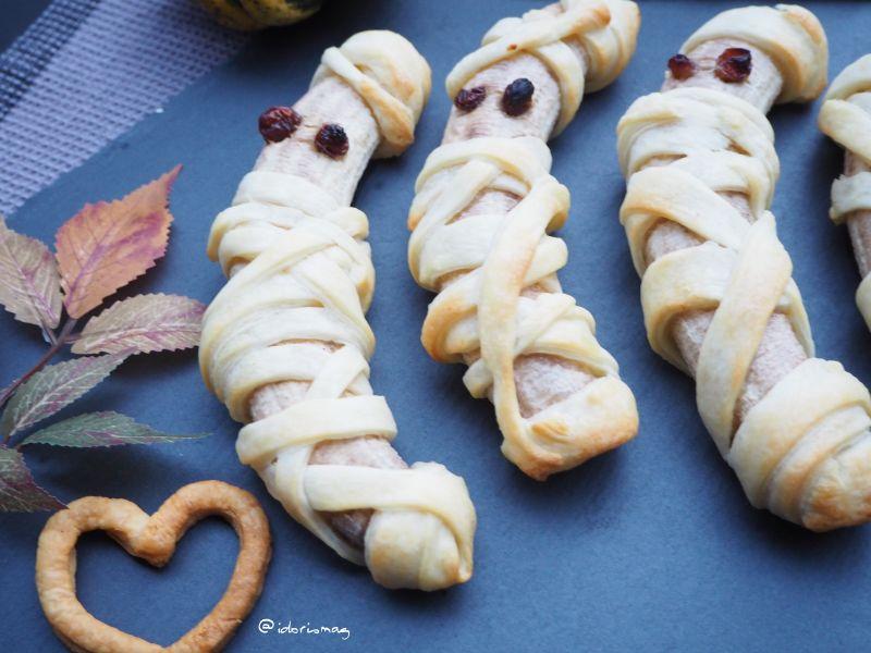 Vegane Halloween Bananen Blätterteig Mumien