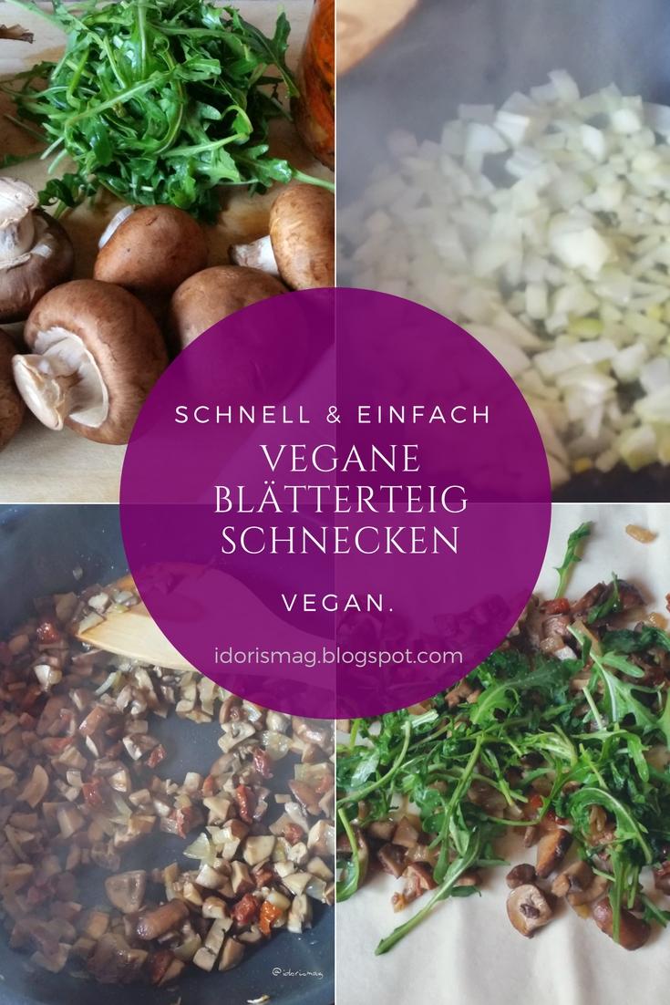 Vegane Blätterteigschnecken mit Champignons
