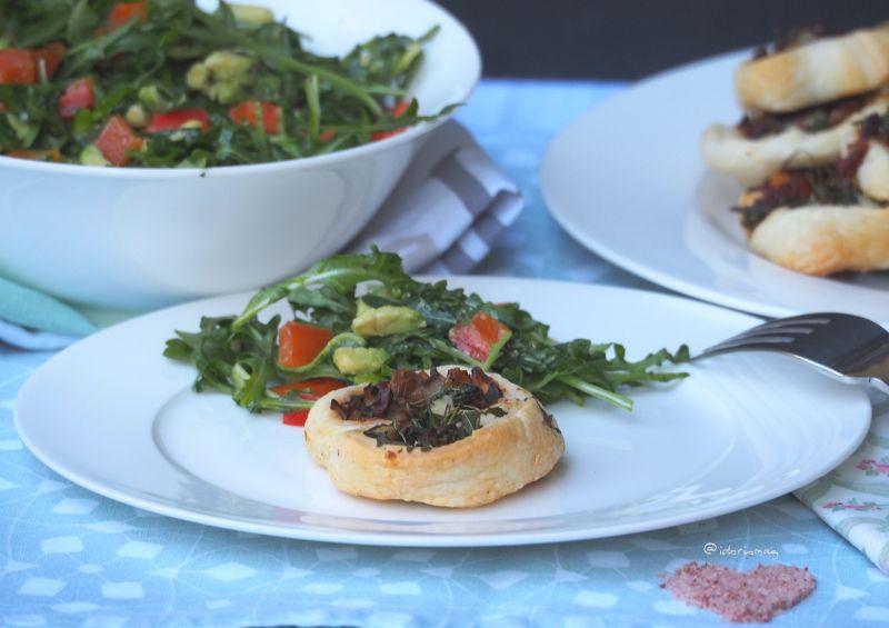 Vegane Blätterteig Schnecken mit Champignons