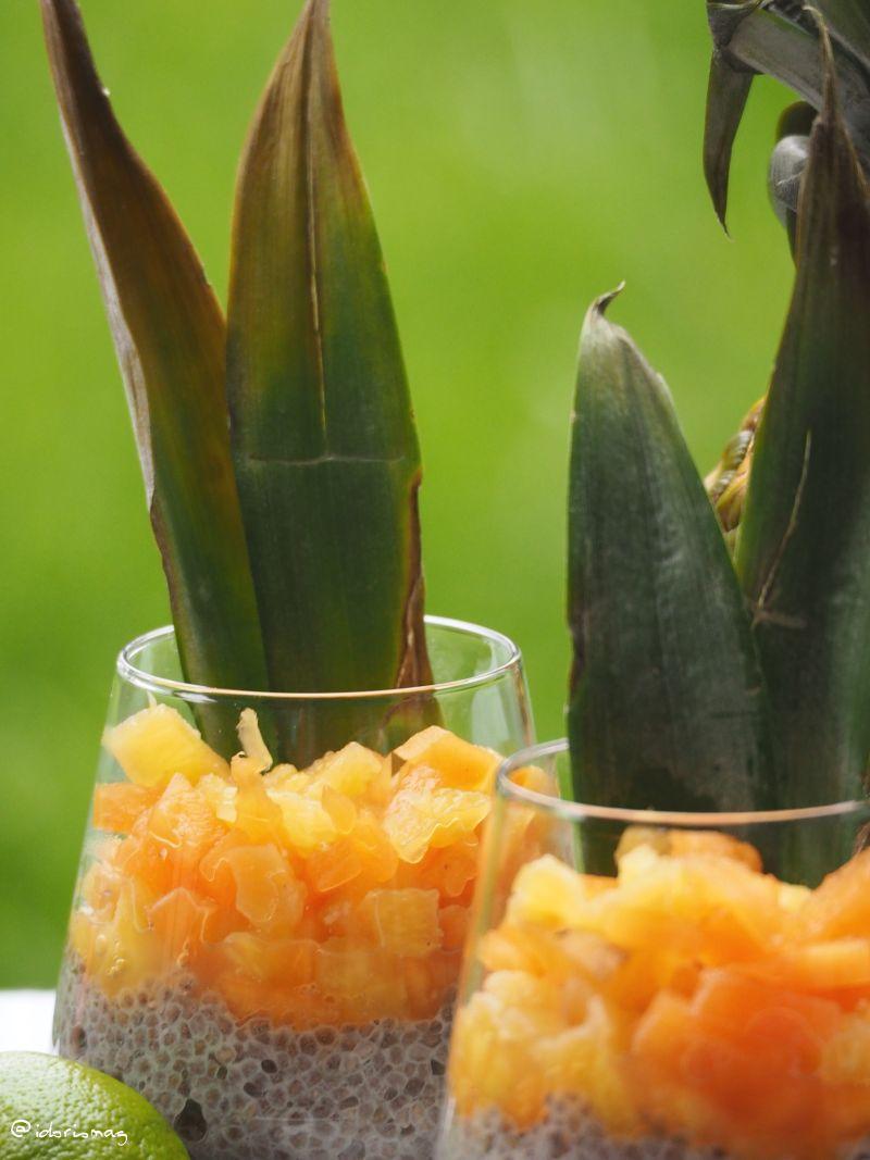Vegane Chiasamen mit Ananas und Melone