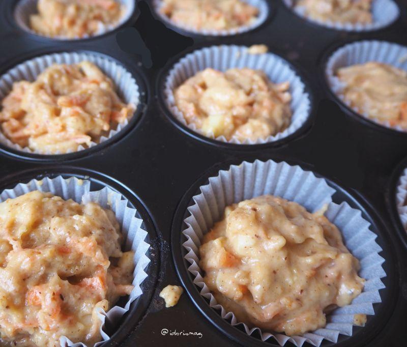 Vegane Apfel Karotten Nuß Cupcakes Muffins Zuckerglasur
