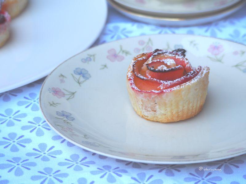 Blätterteig Apfel Erdbeer Rosen