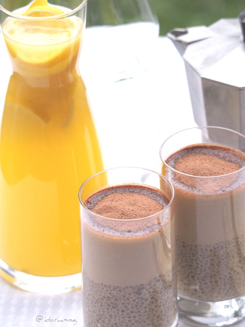 Vegane Kaffee Latte Chia Samen