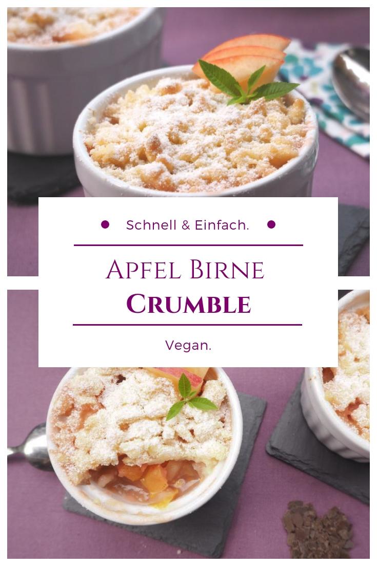 Veganer Apfel Birne Crumble