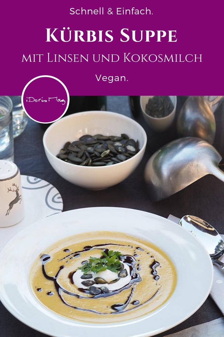Vegane Kürbis Suppe mit Kokosmilch und Linsen