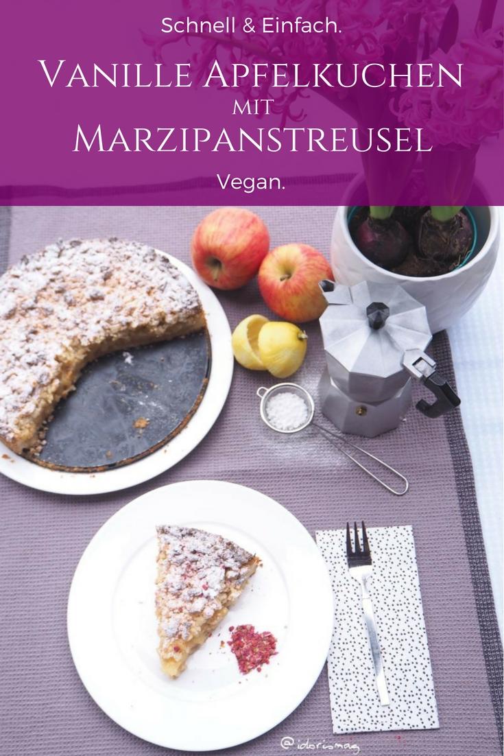 Veganer Vanille Apfelkuchen mit Marzipan Streusel