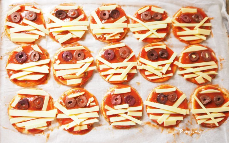 Vegane Halloween Pizza Mumien