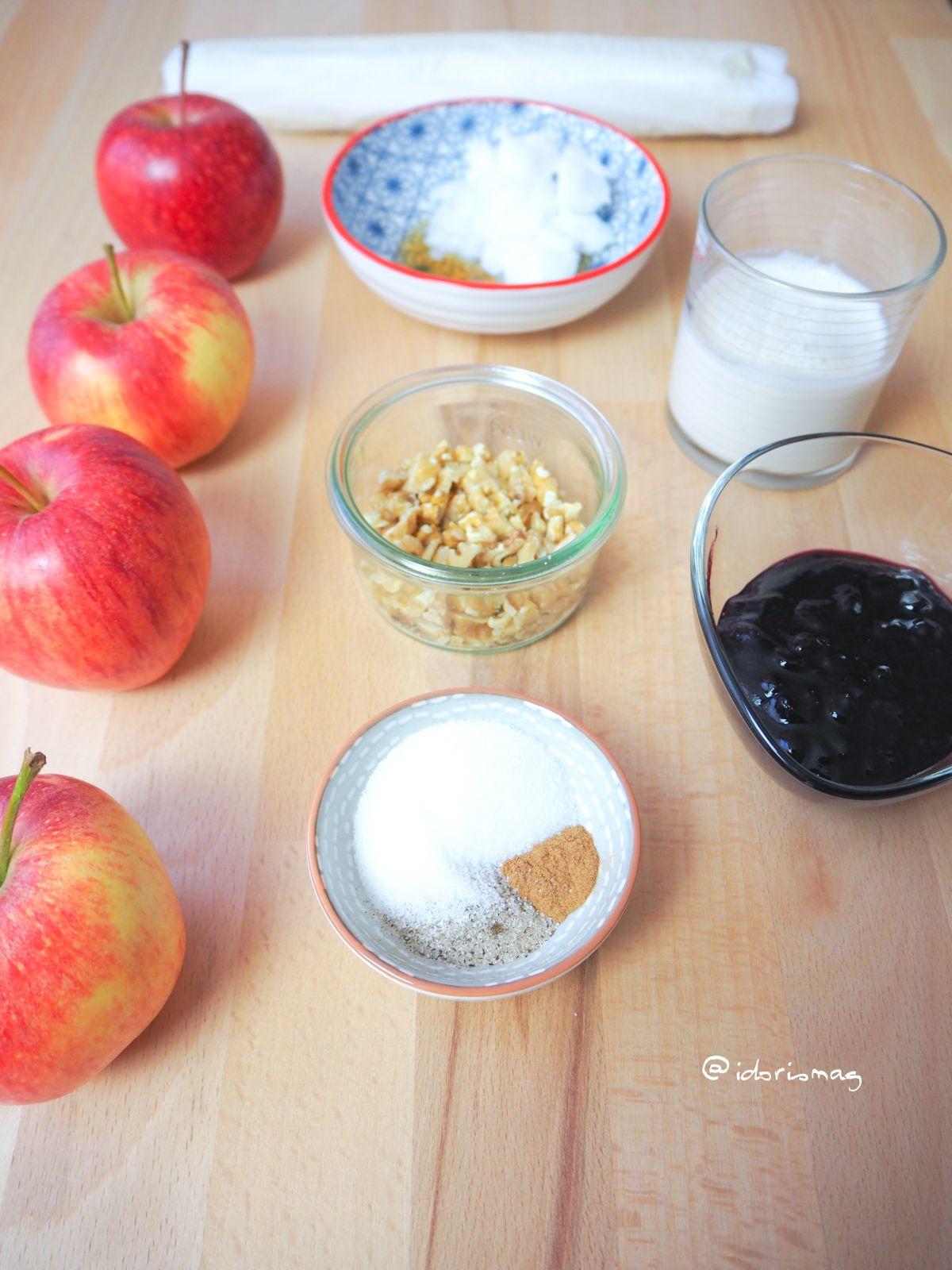 Vegane kleine Blätterteig Apfel Tartes