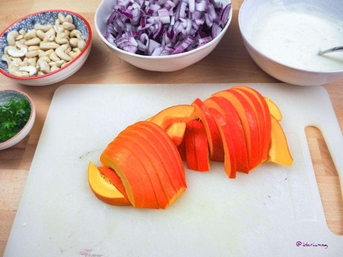 Puff Pastry Pizza - Vegan Recipe - With pumpkin, yogurt, onions, garlic, cashews & parsley