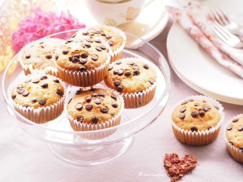 Vegane Bananen Muffins mit Schokolade Drops