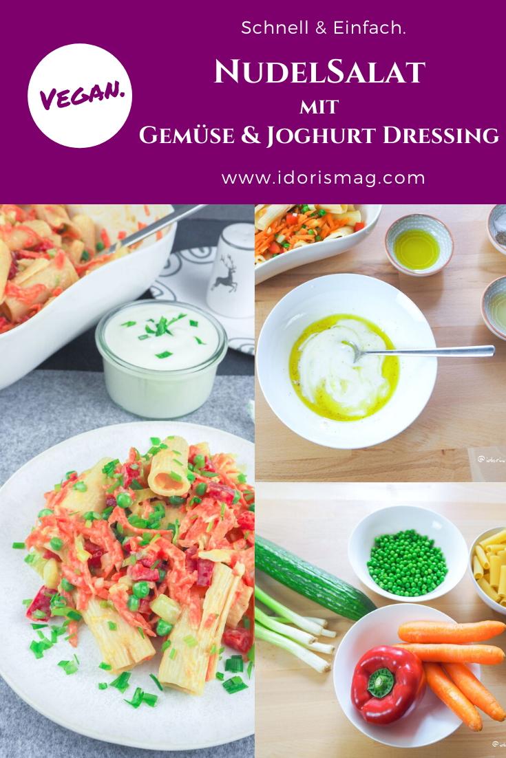 Veganer Nudelsalat mit Gemüse und Joghurt Dressing