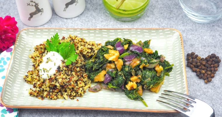 Spinat Walnuss Quinoa Pfanne - Veganes Essen