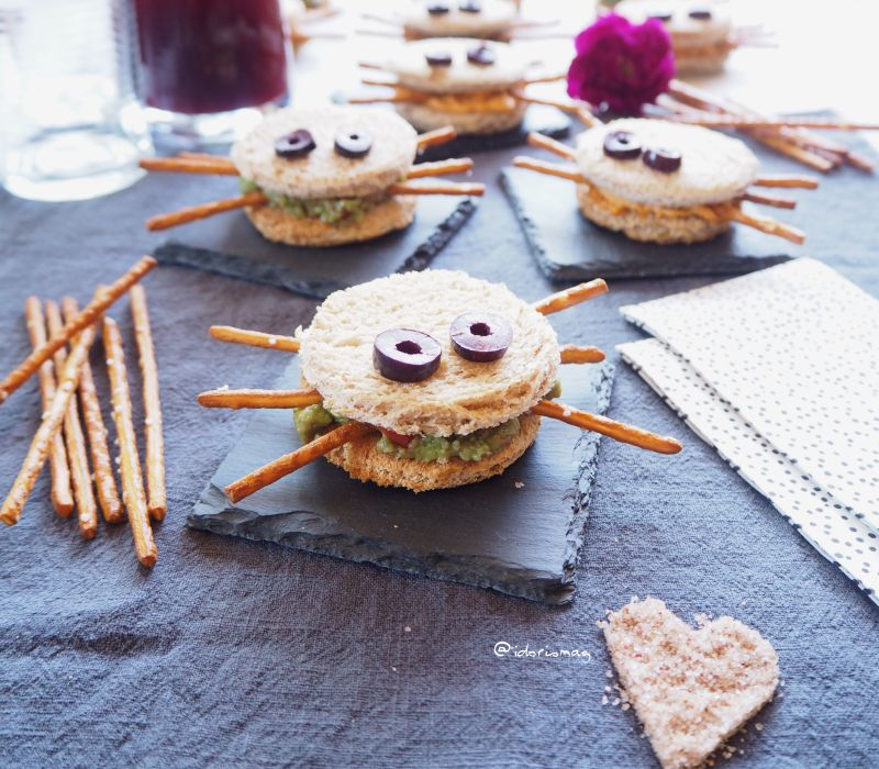 Halloween vegan - Toast Spinnen