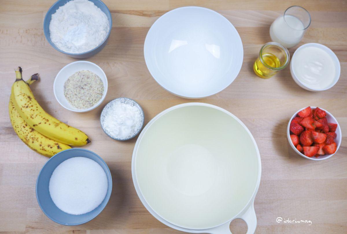 Bananenbrot mit Erdbeeren - Veganes Rezept