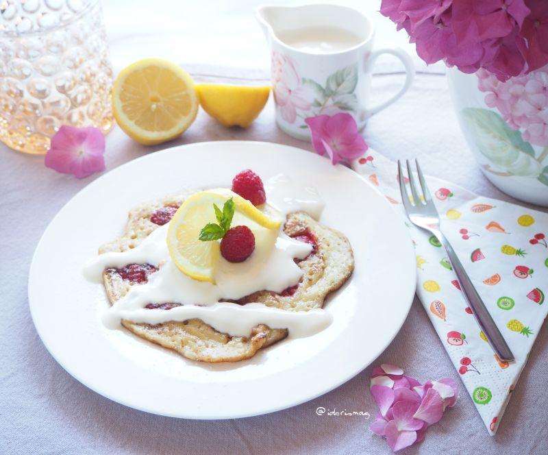 Vegane Zitrone Himbeer Pancakes