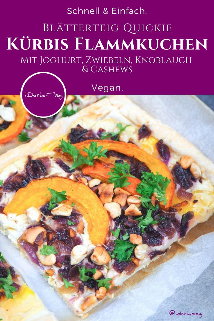 Blätterteig Quickie - Kürbis Flammkuchen mit Joghurt, Zwiebeln, Knoblauch und Cashew Kernen