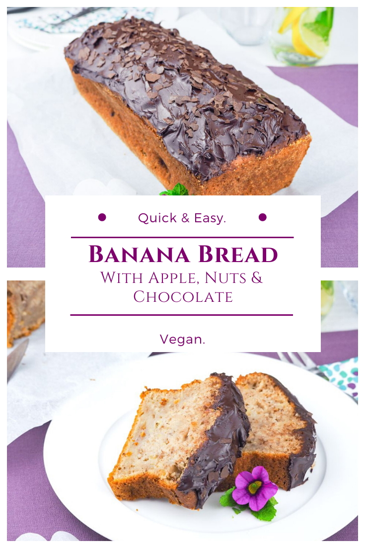 Vegan banana bread with nuts, apple and chocolate spread
