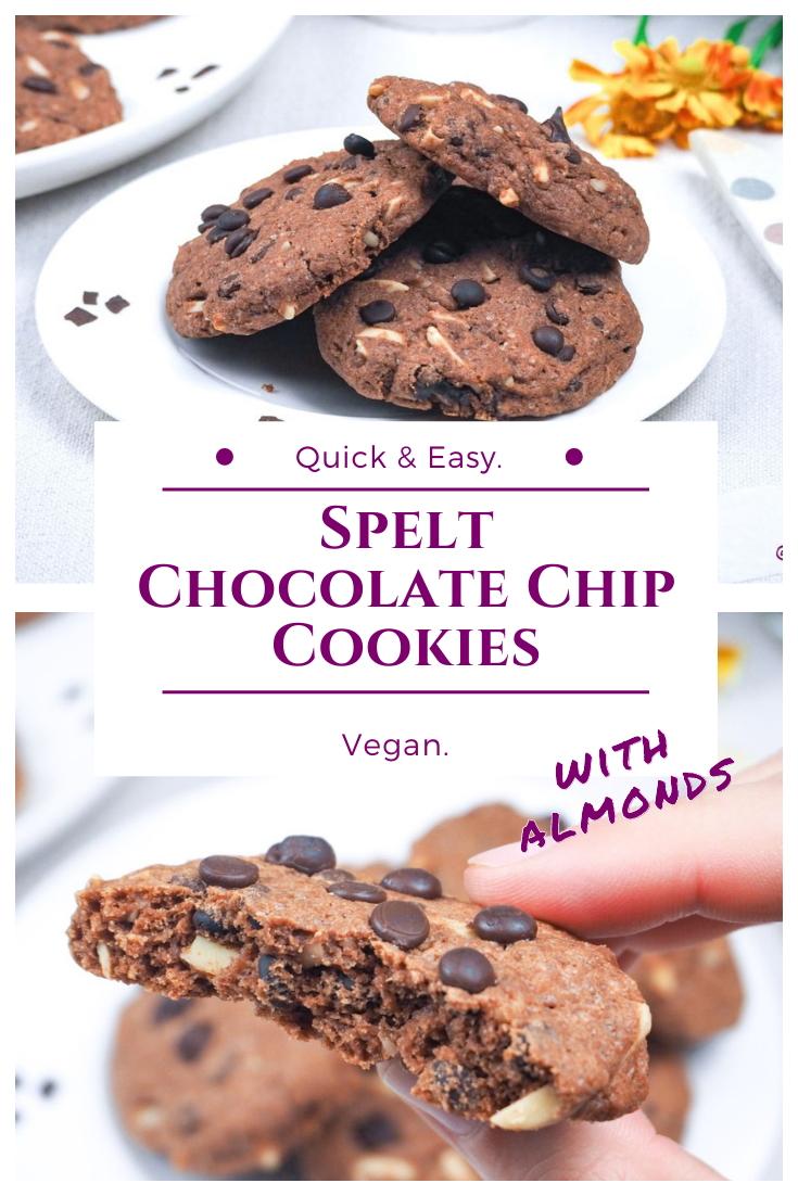 Vegan spelt chocolate almond cookies - Recipe