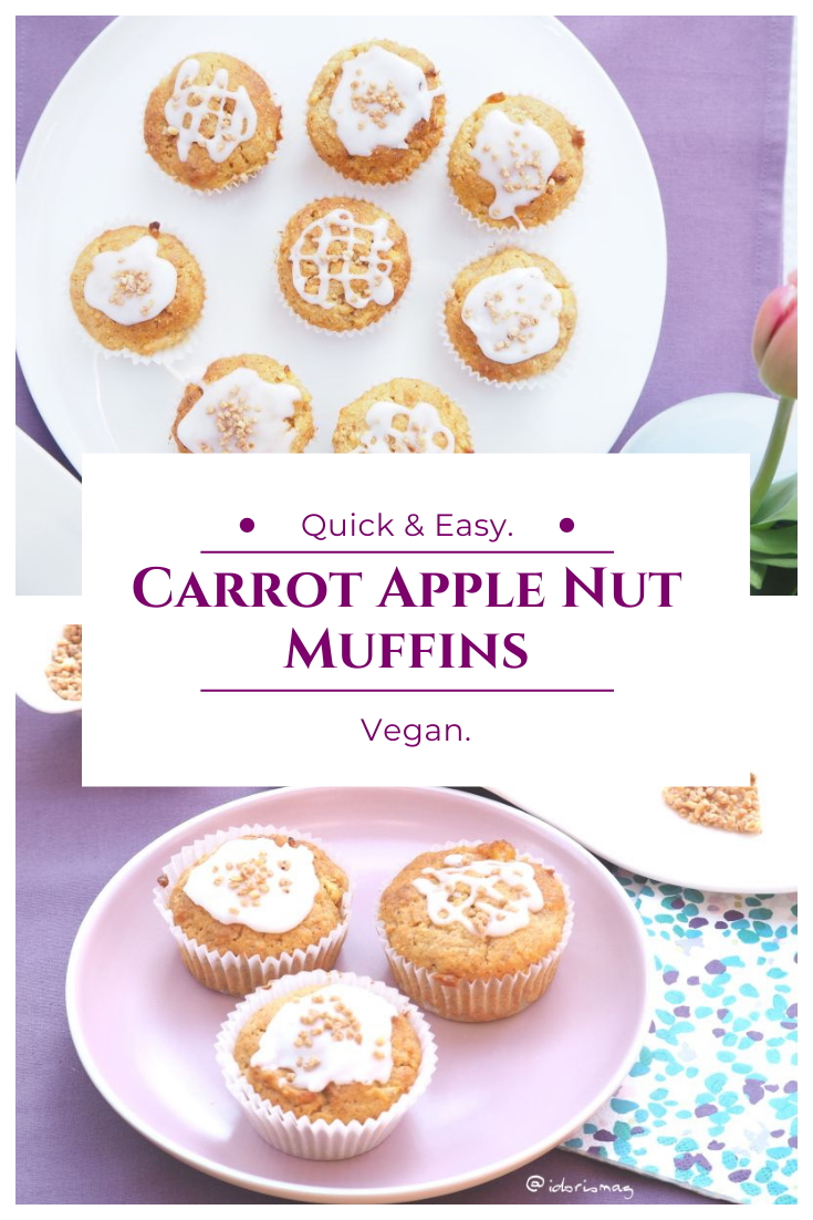 Carrot Apple Nut Muffins - Vegan Recipe