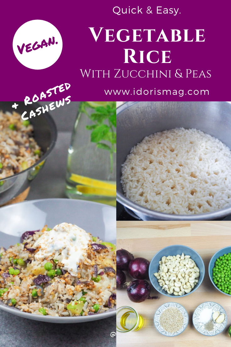 Vegetable Rice with red onions, zucchini, peas and roasted cashews