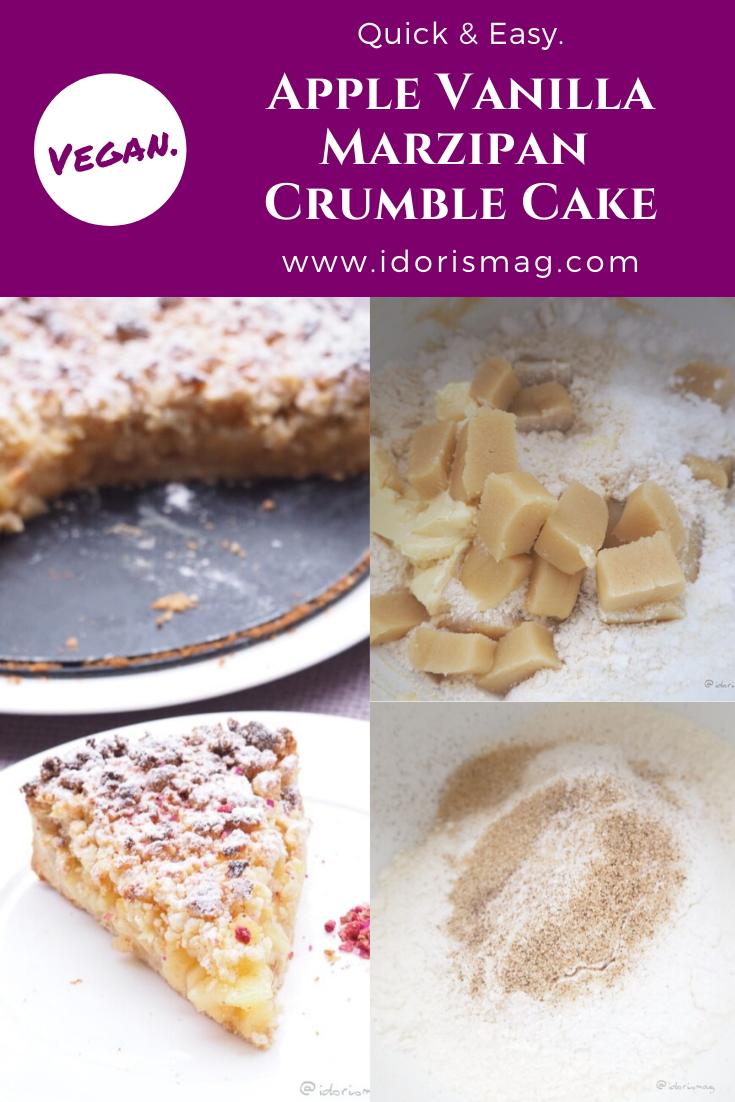 Vegan Apple Crumble Cake with marzipan