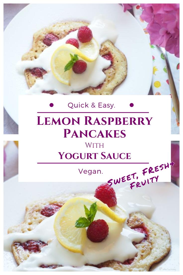 Vegan Lemon Raspberry Pancakes with Yogurt Sauce - Vegan Recipe - Plant-based Recipe