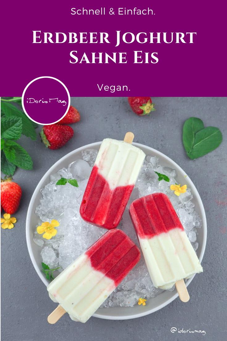 Veganes Erdbeer Joghurt Sahne Eis am Stil Rezept