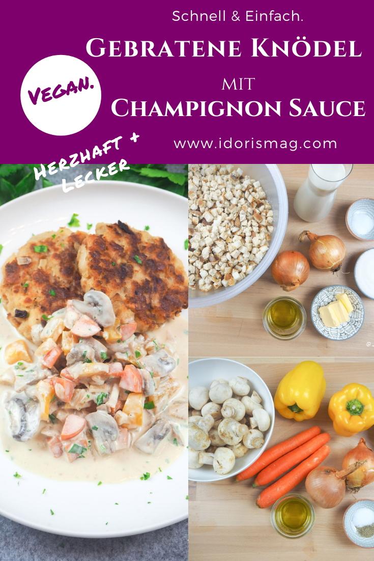 Gebratene Semmel Knödel mit Champignon Gemüse Sahne Sauce - Veganes Rezept
