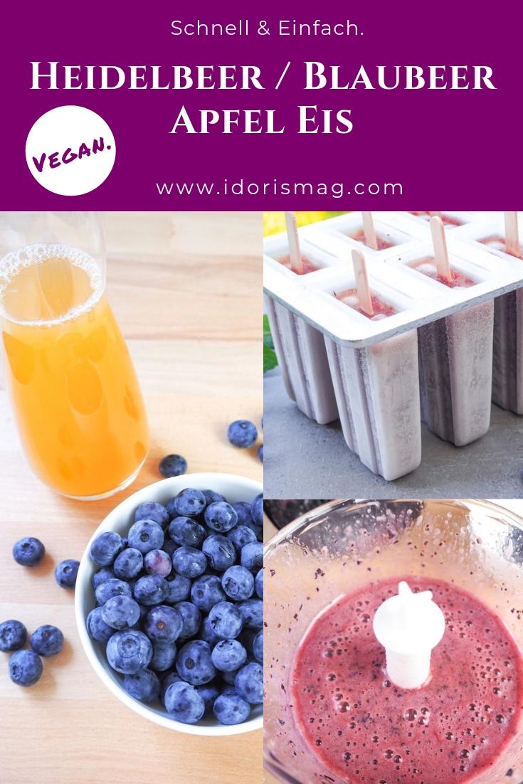 Veganes Heidelbeer / Blaubeer Apfelsaft Eis am Stil