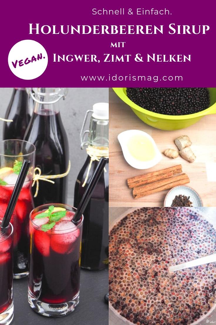 Holunderbeeren Sirup mit Ingwer, Zimt und Nelken
