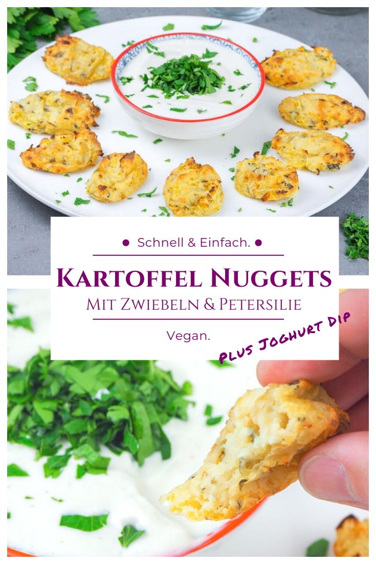 Kartoffel Nuggets Vegan mit Joghurt Dip