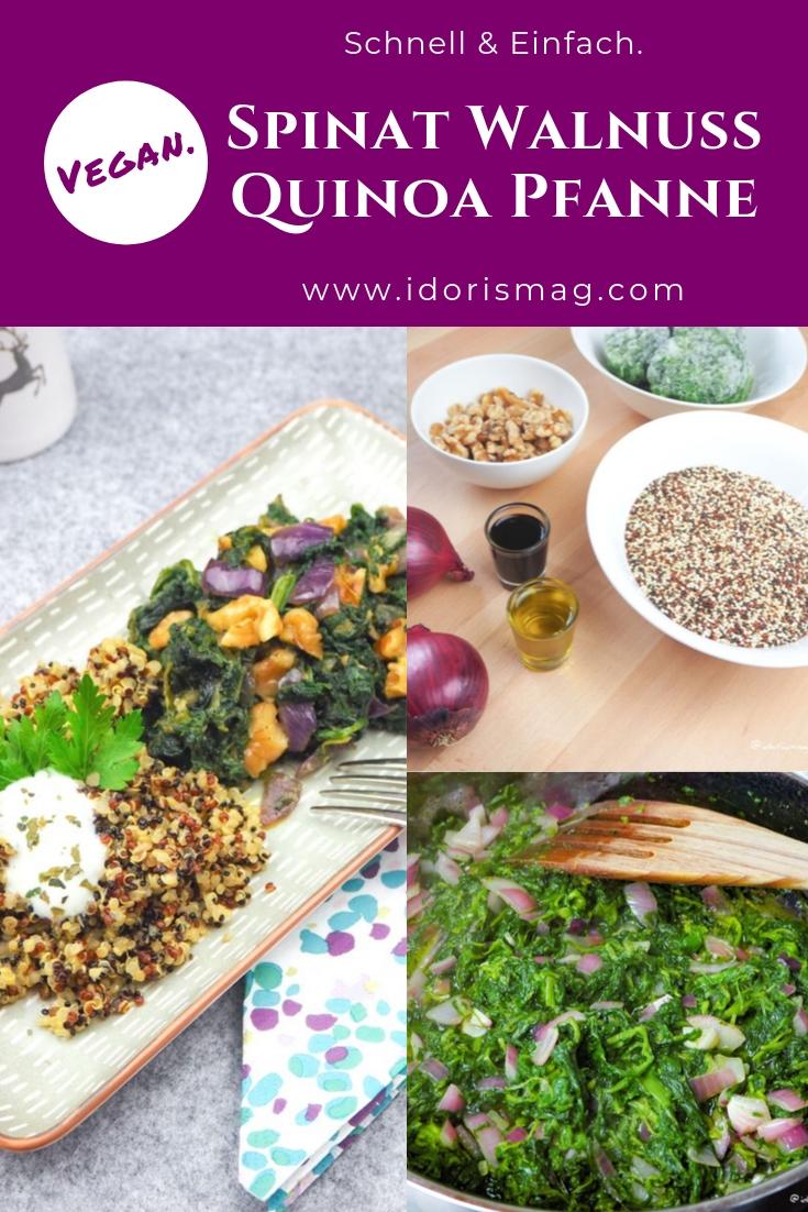 Vegane Spinat Walnuss Quinoa Pfanne
