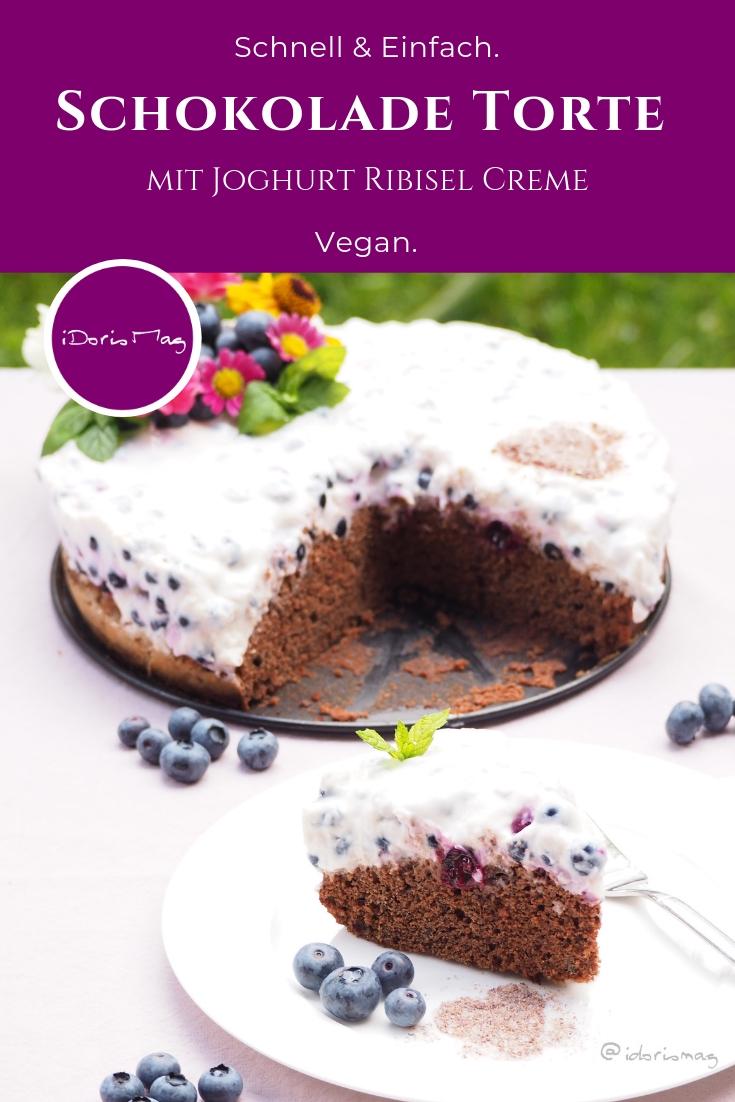 Vegane Schokolade Torte mit veganer Joghurt Ribisel / Johannisbeer Creme