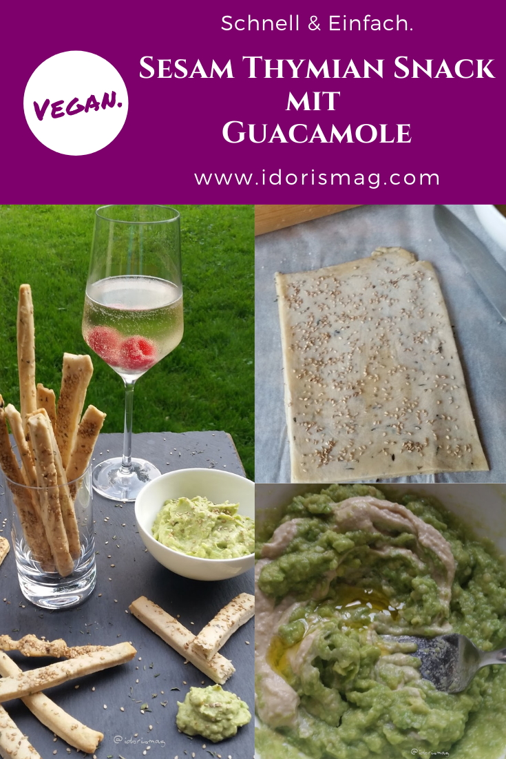 Sesam Thymian Snack Stangen mit Guacamole