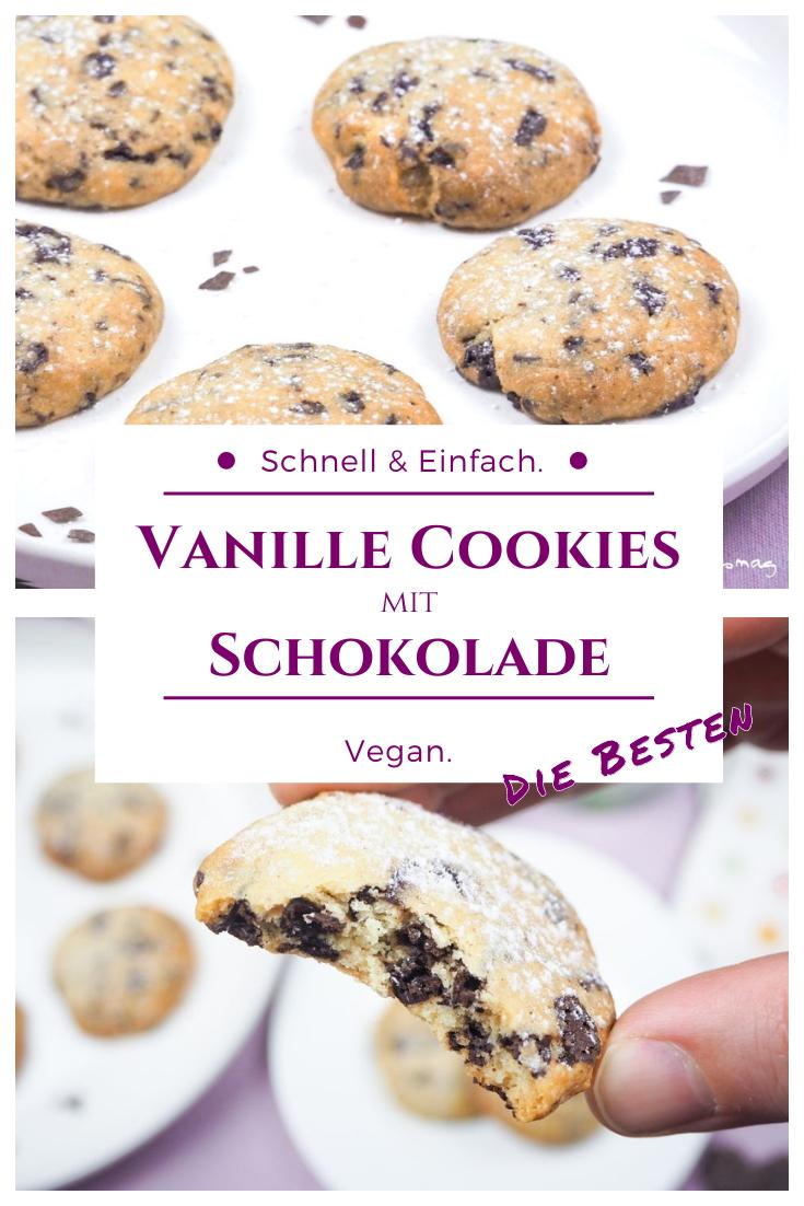 Vegane Vanille Schokolade Cookies - Veganes Rezept