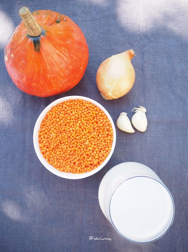 Vegan Spiced Pumpkin Soup with Lentils and Coconut milk